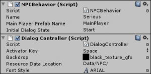 Dialog Game Object Info