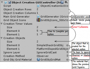 Grid Object Creation GUI Controller